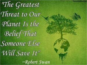 Image of green tree with Robert Swan quote